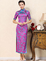 Magenta long cheongsam dress