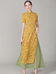 Yellow chiffon Ao dai Qipao dress