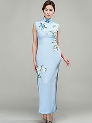 Hand-painted water-blue silk long  qipao dress