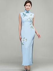 Hand-painted water-blue silk long  qipao dress