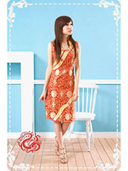 Red rich flower dress SMS15