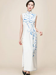 Ivory silk with embroidery Chinese cheongsam dress