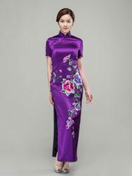 Purple silk with peonies embroidery cheongsam dress