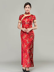 Colorful dragons & phoenixes wedding qipao dress
