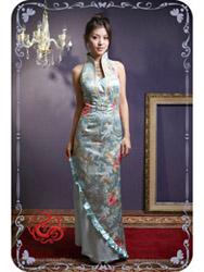 Light blue modern cheongsam dress SMS38