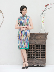 Pure silk colorful cheongsam