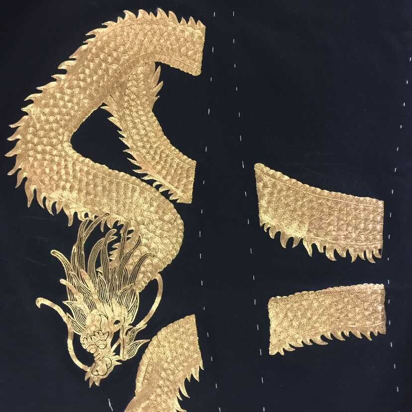 Black mens suit with dragon embroidery
