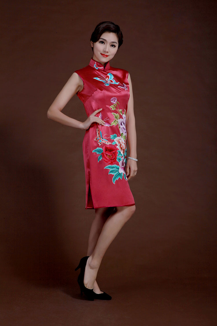 Watermelon red silk with embroidery qipao dress
