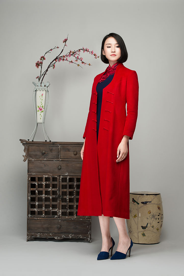 Red cashmere women coat