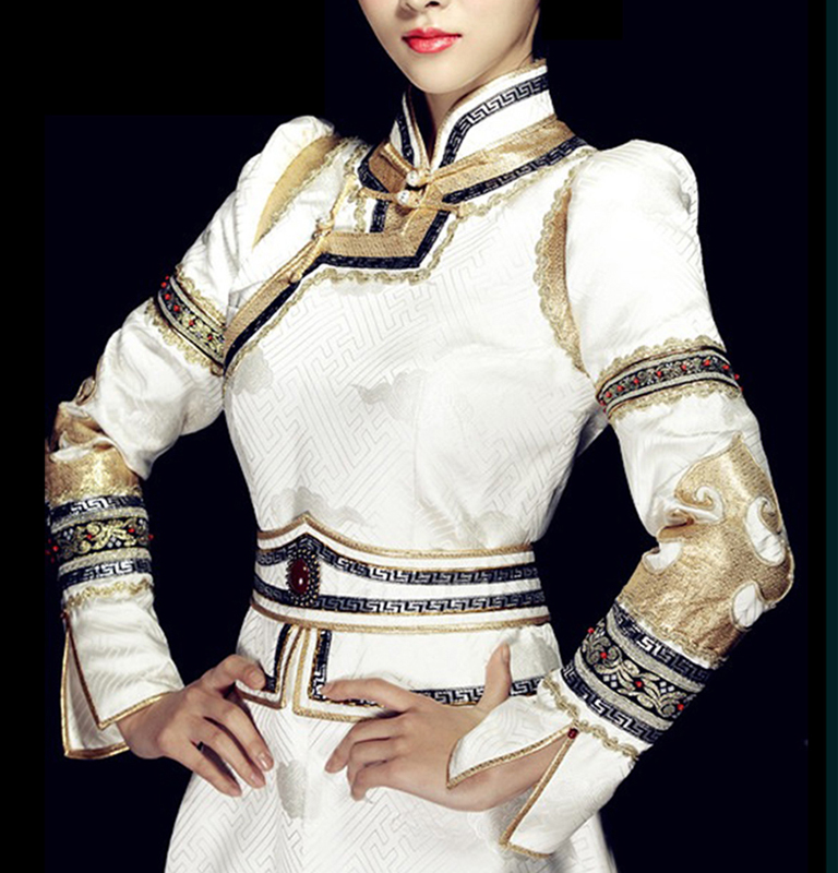 White high collar mongolia dress