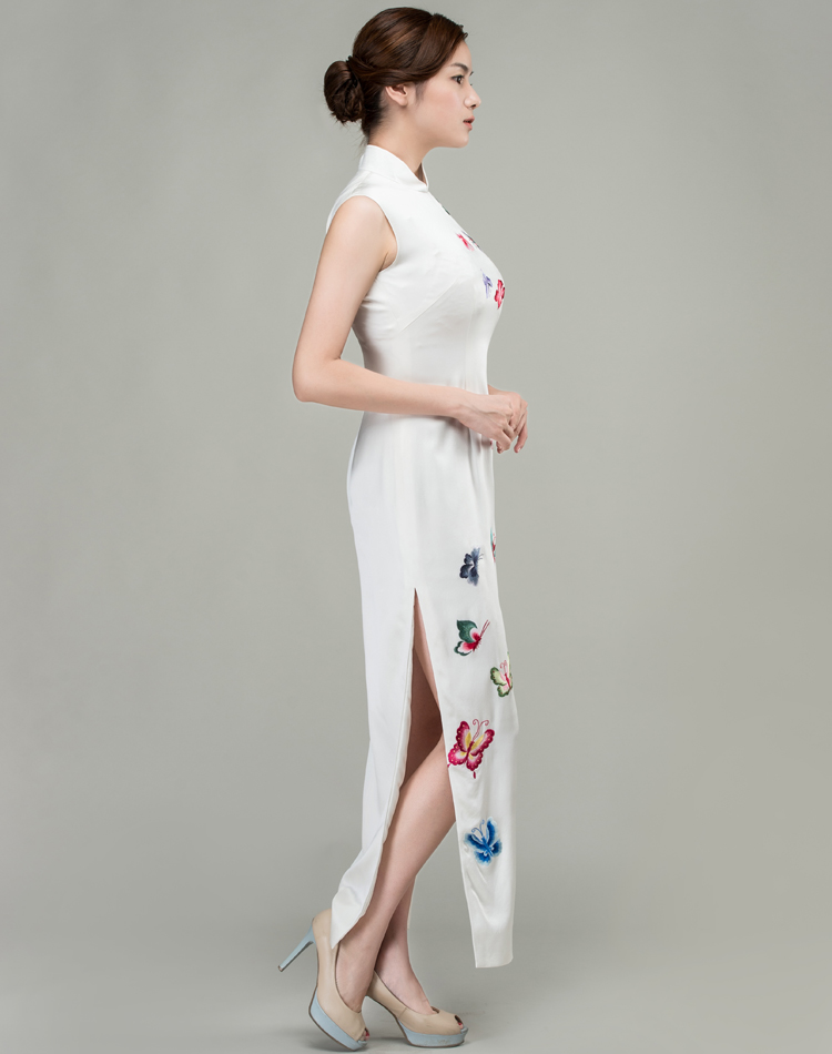 White cheongsam dress with colorful butterflies embroidery