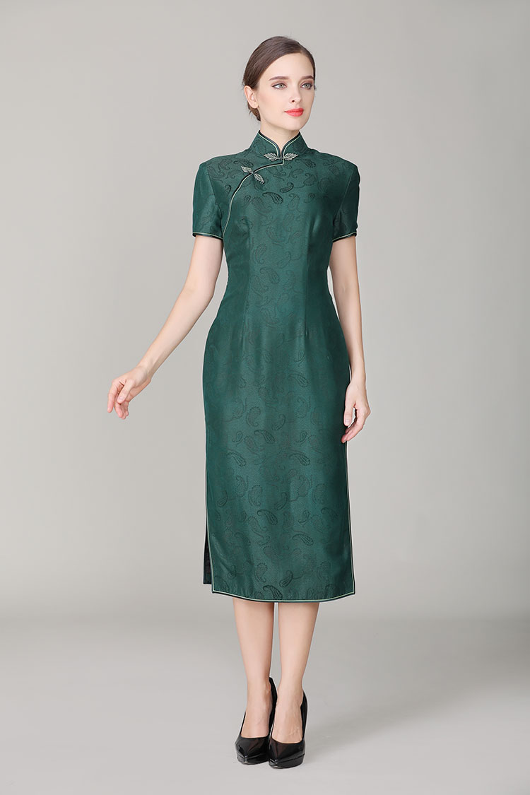 Dark green silk with Paisley patterns qipao dress