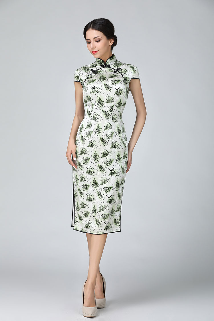 Tree leafge short qipao dress