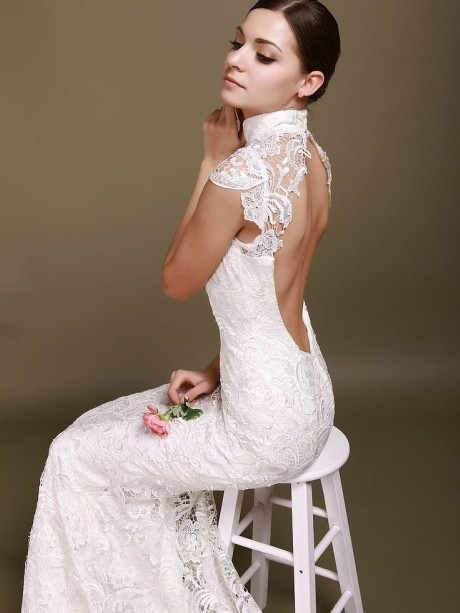A-line V-neck Asymmetrical Tea-length Chiffon Wedding Dress