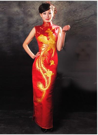 Red Phonix Wedding Dress Custom Made Cheongsam Chinese Clothes Qipao Chinese Dresses Chinese Clothing Efu Tailor Shop,Bohemian Beach Flowy Wedding Dress
