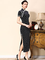 Dark blue cheongsam dress with white dots