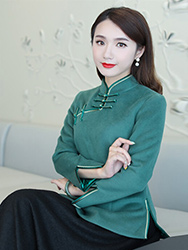 Green wool chinese top & black skirt