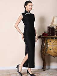 Black lace long cheongsam dress