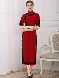 Wine red cheongsam with wide black piping