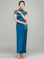 peacock green long qipao dress
