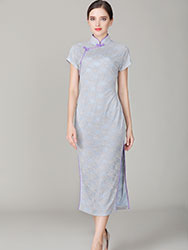Thin grey-blue lace qipao dress