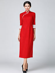 Red wool improve cheongsam with white lace piping
