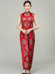 Red circles with dragon bats silk brocade cheongsam dress