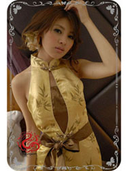 Golden bamboo qipao dress SMS81