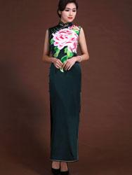 Dark green peony embroidery long dress