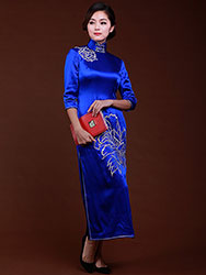 Royal blue silk with embroidery cheongsam dress
