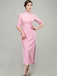 Pink cotton-linen long qipao dress