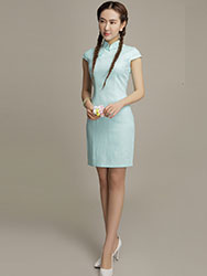Light blue cotton short qipao dress