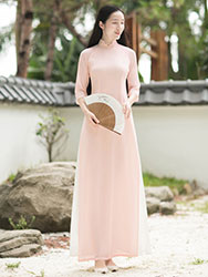 Baby-pink long chinese tea dress