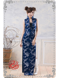 Navy blue with silver plum qipao SMS53
