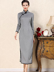 Light gray wool improved cheongsam dress