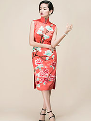 Watermelon red silk embroidered short qipao dress