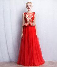 Red chinese wedding dress with phoenix pattern