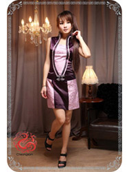 Purple silk with pink dragon dress SMS82