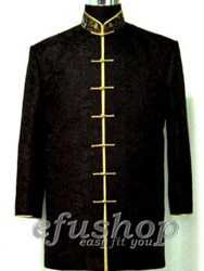 Black chinese Men's long jacket