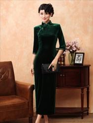 Dark green Velour Cheongsam SCV13