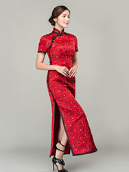 Chinese poem words long cheongsam dress