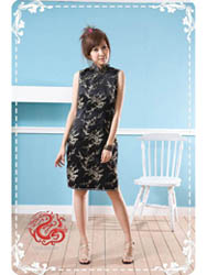 Black plum brocade cheongsam dress SMS41