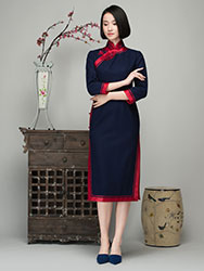 Navy wool blending cheongsam
