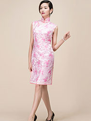 pink short qipao dress