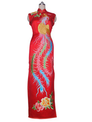 Red with golden phoenix embroidery cheongsam dress SQE137