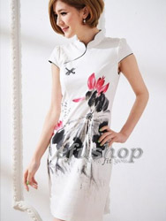 Natural white cotton with lutos painted cheongsam dress SQH44