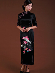 Black silk satin with lotus embroidered cheongsam