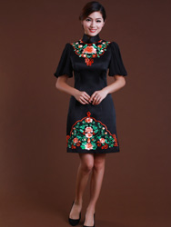 Black  improved cheongsam dress