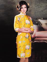 Yellow cheongsam with peachblossom