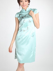 Pure silk painted qipao dress SQH47
